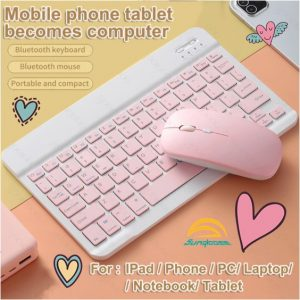 Sunqlooee Mini Wireless Bluetooth Quiet Slim Keyboard and mouse for IOS&Android Windows Tablets 7 inch &9.7 inch