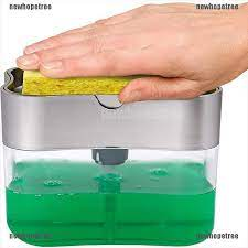 Multifunction Soap Dispenser Manual Press Soap Pump Liquid Soap Dispenser With Sponge Kitchen Soap Holder