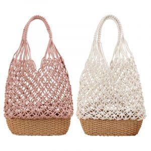 Women Retro Handmade Straw Shoulder Bag 2pcs