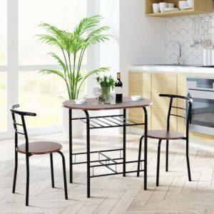 HOMCOM 3-Piece Bar Table Set 2 Stools Industrial Dining Room W/ Storage Shelf