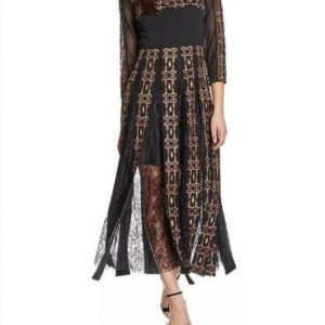 French connection Black Muti Prila Drape Round Neck Maxi Dress