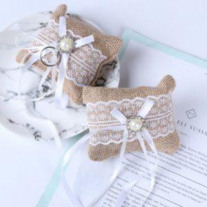 Lace Bow Ring Pillow Wedding Vintage Burlap Jute Cushion Valentine's Day Gi-qk