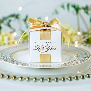 150 pc White candy box Yellow ribbon retro wedding candy box simple packaging
