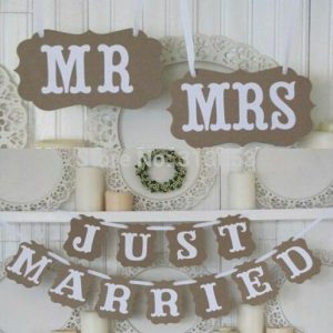 Wedding Paper Banner MR MRS JUST MARRIED Letter Photoshot Decoration Garland