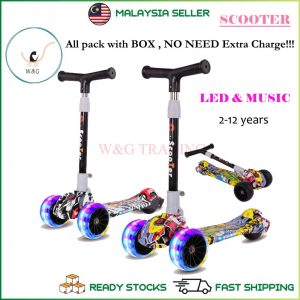 Kids Scooter Foldable Adjustable Height Cartoon Tri Wheels Kick Flash Wheel Height Adjustable With LED Light Up