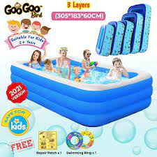 INTIME 3 Rings Inflatable Family Swimming Pool Cartoon Design Rectangular Kids Swim Pool Kolam Renang Budak