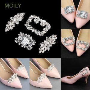 MOILY 1PC Rhinestone Shoe Clip Women Bride Charm Buckle Shiny Decorative Clips Wedding Square Clamp High Heel Lady Shoe