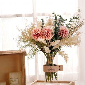 ❤Bouquet Artificial Flowers Hydrangea Catkins Chrysanthemum Living Room Decoration Wedding Bouquet DIY Combination Beautiful