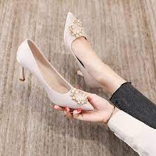 SWEETC Kasut Perempuan Bridesmaid Wedding Shoes Women Stiletto Point Pearl Rhinestone High Heels