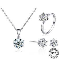 Women Fashion 925 Silve 3 Pcs/set Necklace/Earrings/Ring SetsSterling Silver Wedding Jewelry Set for Kalung