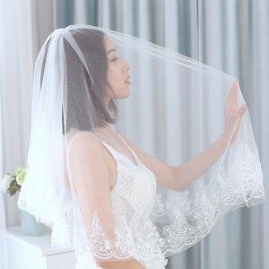 Deartiara White Elbow Tulle 2 Layer Lace Edge Squin Wedding Bridal Long Veil